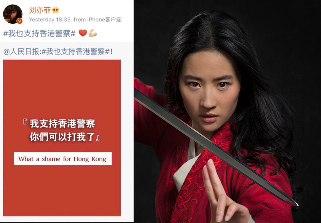 Call for boycott after the actor who played Mulan in the reboot supports Hong Kong's brutal police crackdown on pro-democracy protestors