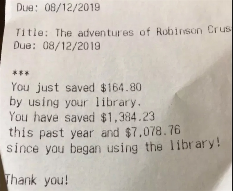 Public library receipt shows how much money you saved by borrowing instead of buying books
