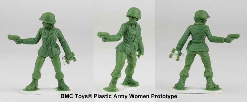 Photo of prototypes of plastic army women figurines from BMC toys