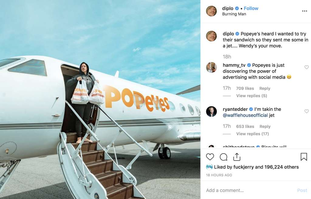 DJ pretends to arrive to Burning Man on a Popeyes jet
