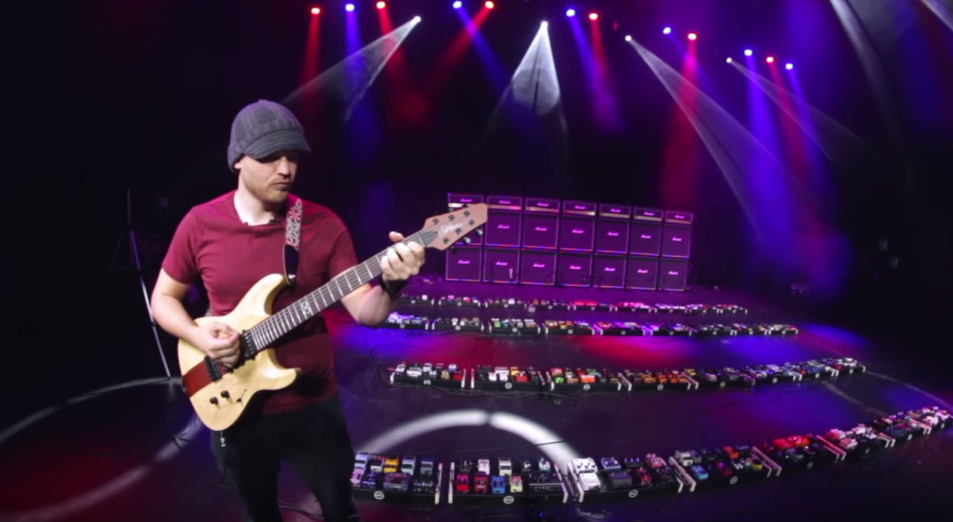 Screenshot of Youtube video of Rob Scallon playing 319 guitar pedals at once